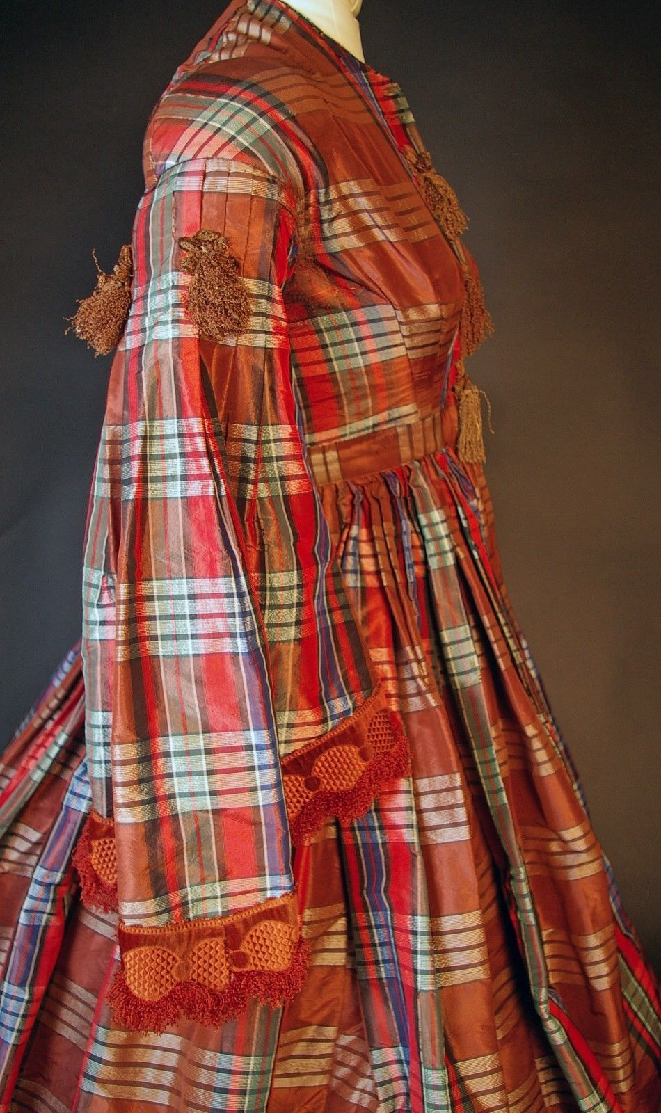 """Side view - Civil War Pagoda Sleeve Ribbon Brown Gown NR 