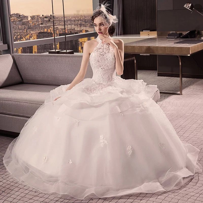 Halter Bridal Ball Gown Lace Mermaid Wedding Dress With Tulle Custom Made Prom Jd 59 From June