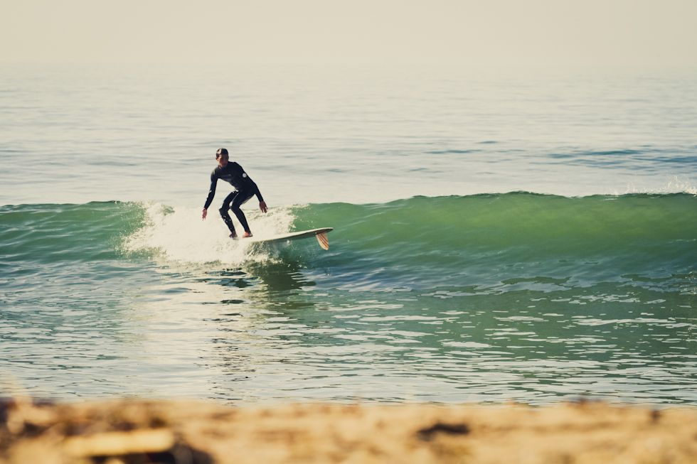 Aaron Cervantes, fin-first on Andy's 9'4 Surf Thump.  Photo: Cameron Oden