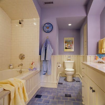 Purple Bathroom With Cream Interior Decorating Before And After Design
