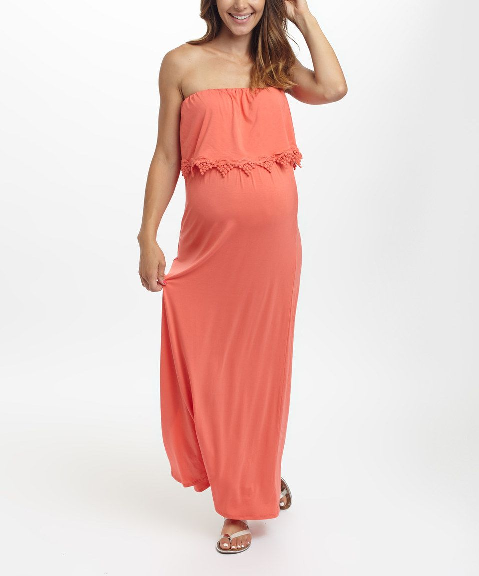 04ab9e7233f Love this PinkBlush Coral Maternity Strapless Maxi Dress by PinkBlush  Maternity on  zulily!  zulilyfinds