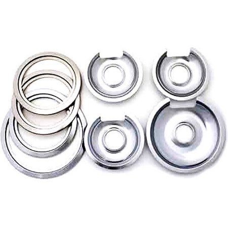 Range Kleen Chrome Ge And Hotpoint Drip Pans 8 Pack Silver