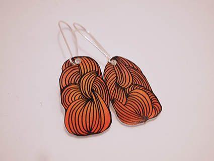Orange Bundle of yarn Shrink Plastic Earrings via Etsy.