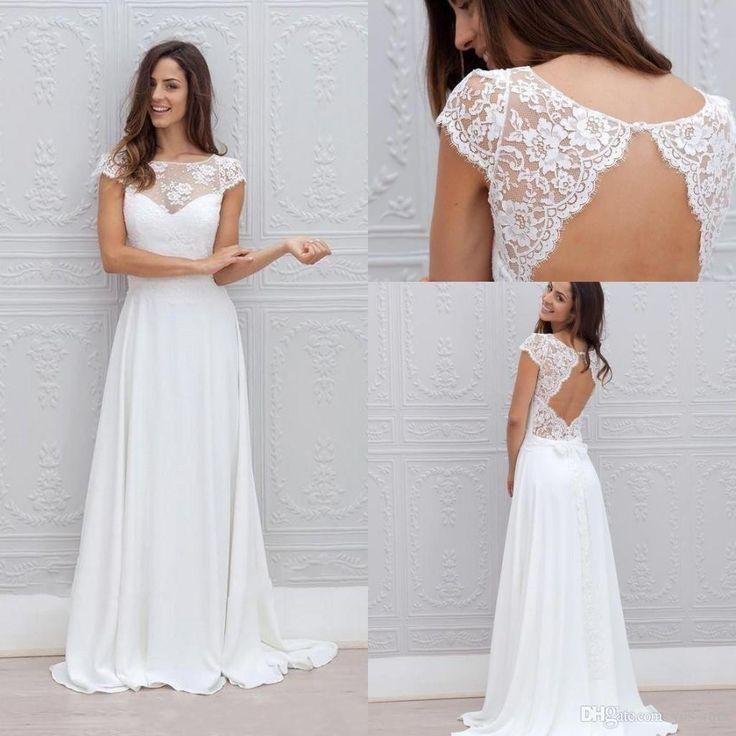 2016 Cheap Summer Beach Wedding Dresses Jewel Neck Cap Sleeves Lace