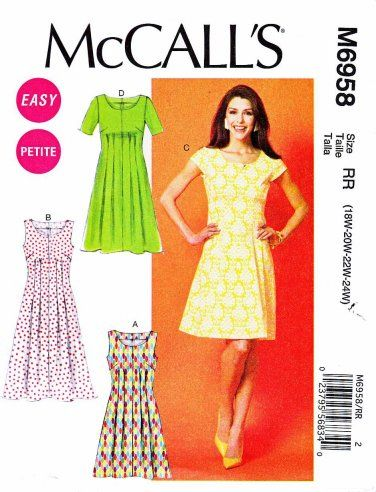 Mccalls Sewing Pattern 6958 Womens Plus Size 18w 24w Easy Tucked