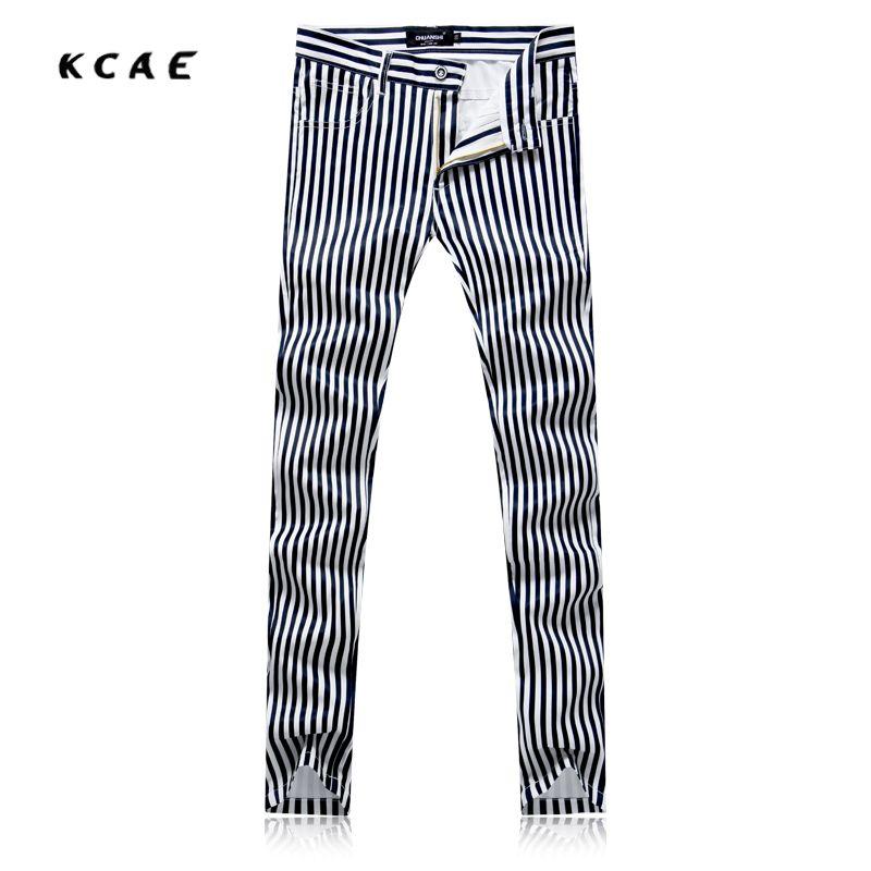 Click To Buy New Men S Printed Black White Stripes Jeans Pants