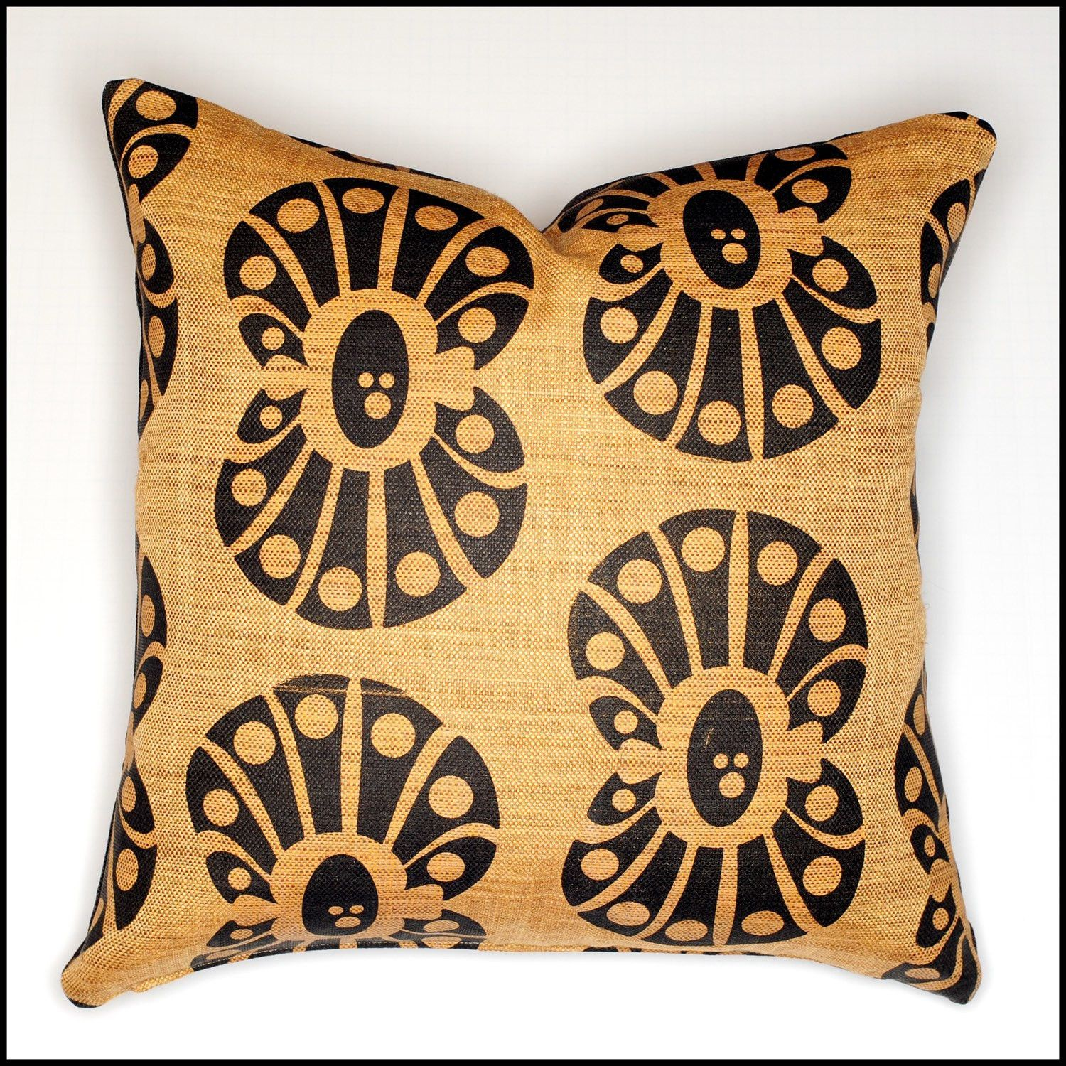 Extra large clam shell throw pillow cover black shell print
