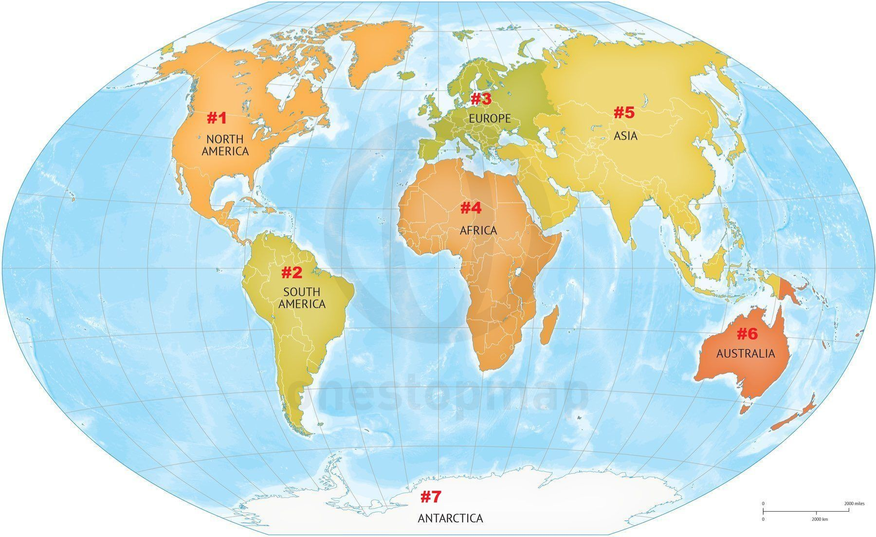 The Continents Of The World Numbered And On A Map Of