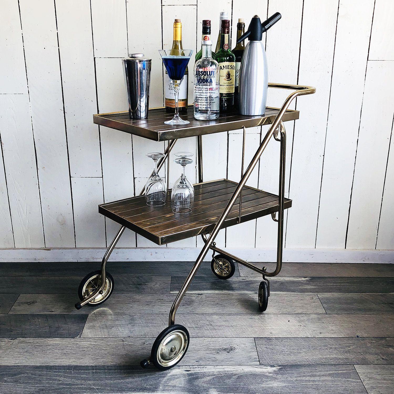 Mid Century Rid Jid Serv N Style Folding Cart Bar Cart Cocktail Cart Tea Cart Kitchen Cart Serving C Kitchen Cart Kitchen Carts On Wheels Metal Kitchen