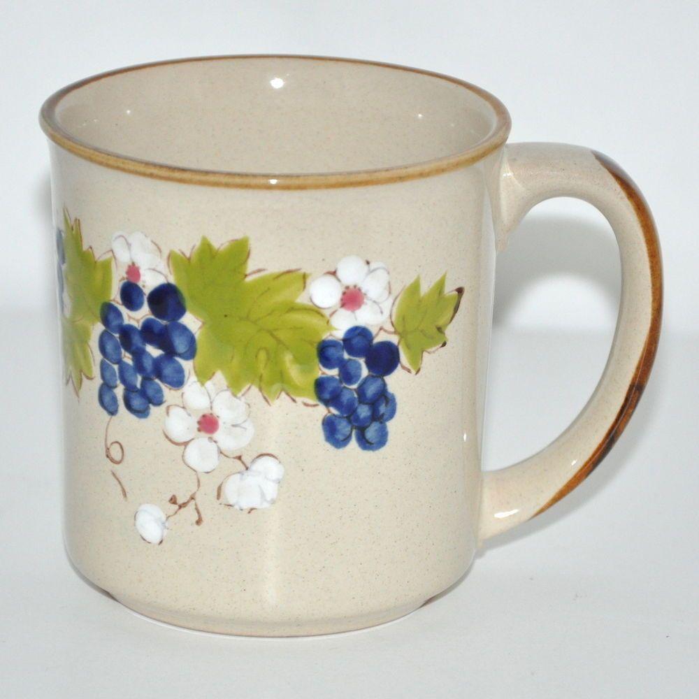 Vintage 70s Coffee Mug Norleans Korea Stoneware Grapevine Dogwood