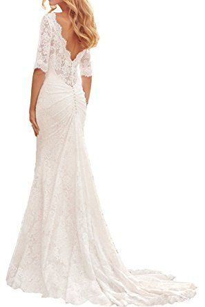 Milano Bride Romantisch Elfenbein 3/4 langarm Spitze Hochzeitskleider  Brautkleider Brautmode Meerjungfrau mit lang Schleppe