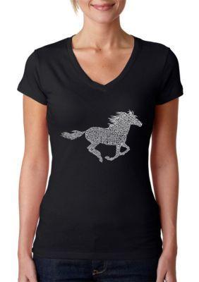LA Pop Art Word Art V-Neck T-Shirt - Horse Breeds