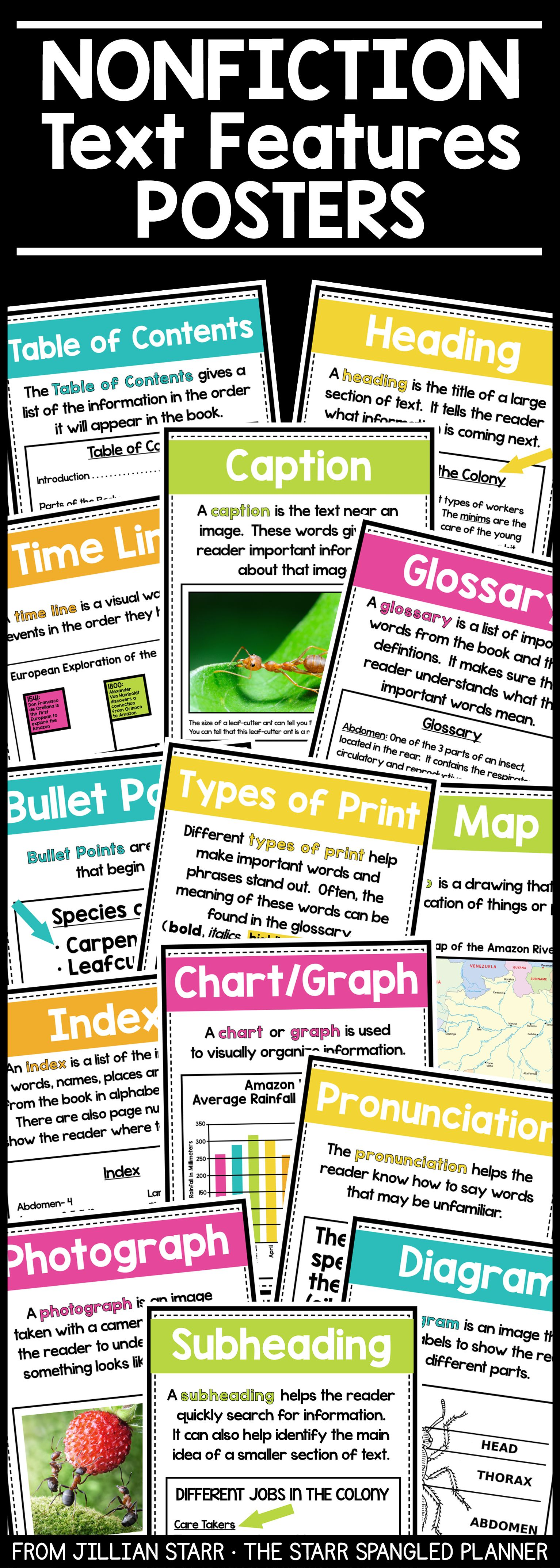 Nonfiction Text Features Posters Amp Activities
