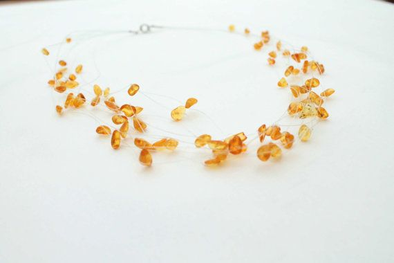 Gold Amber Necklace Yellow Bridesmaid Jewelry by DreamsFactory