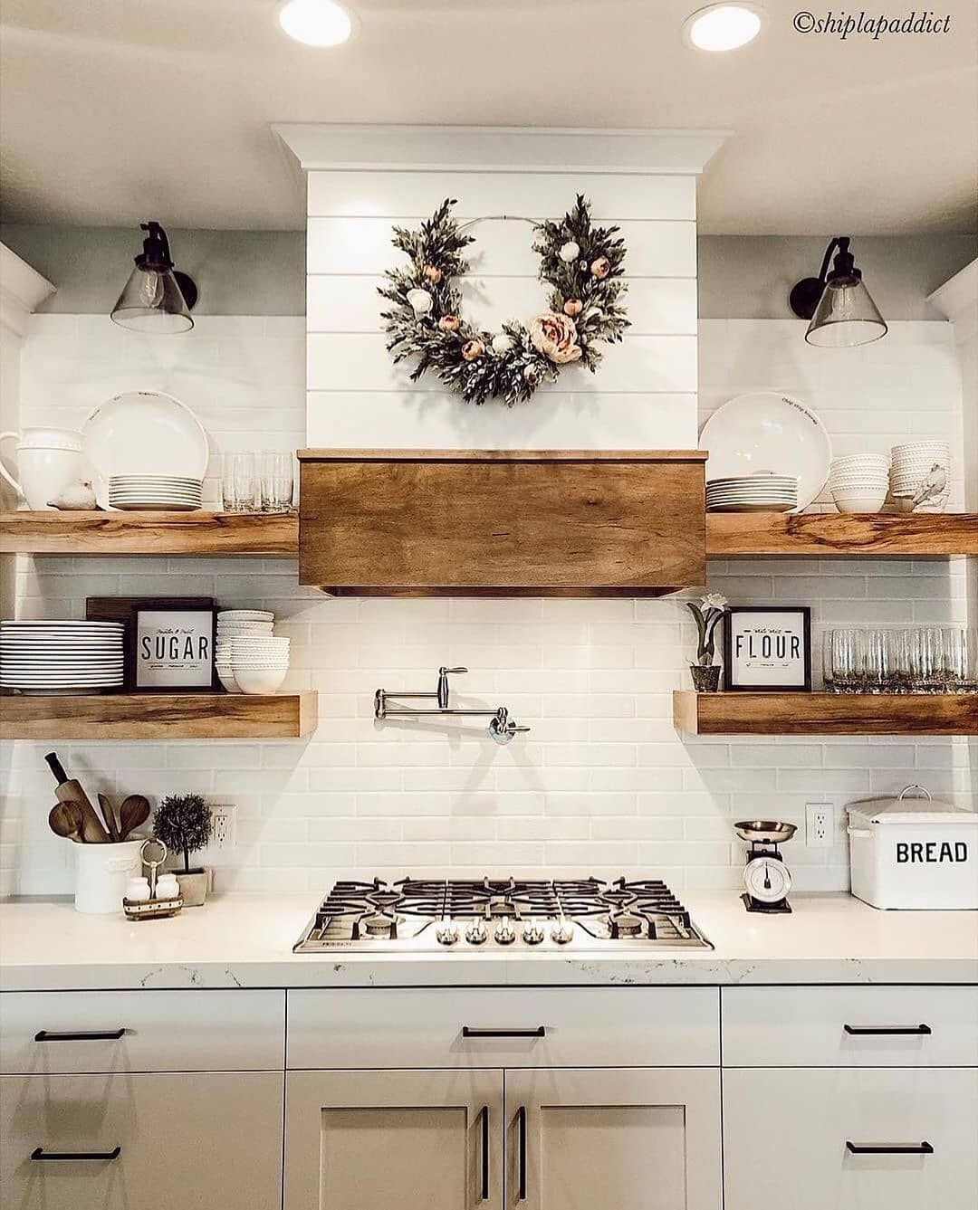 "Farmhouse Homes � on Instagram: ""What do you think of this gorgeous white farmhouse kitchen? ️ We are in love with the natural woods and the contrast of the wreath! � Tag…"""