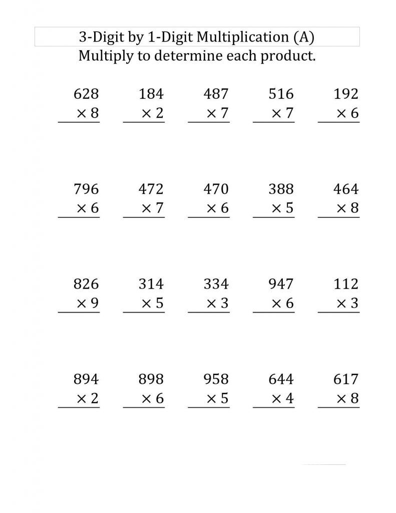 4th Grade Multiplication Worksheets With Images 4th Grade