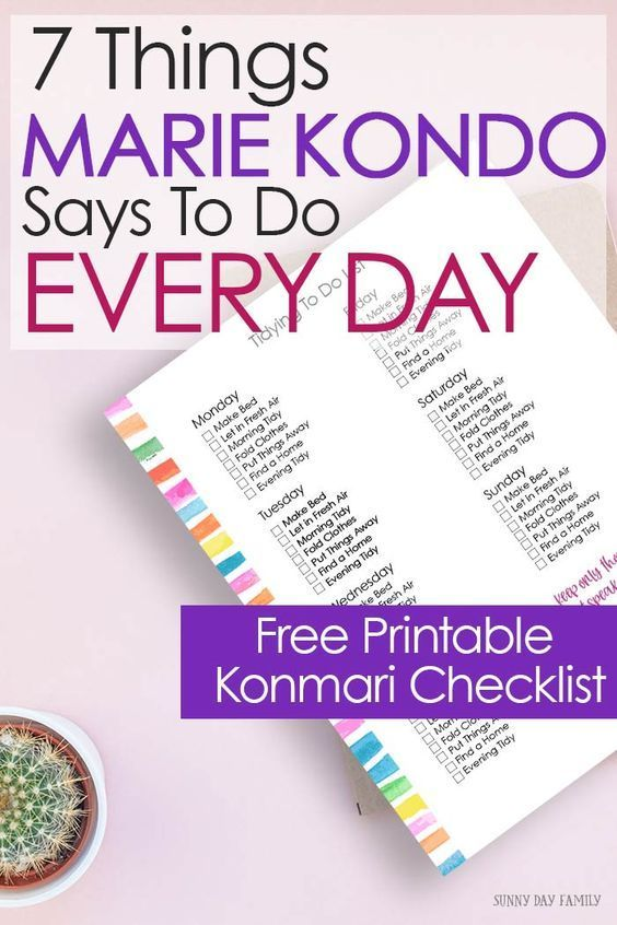7 Things Marie Kondo Says To Do Every Day is part of Clean dishwasher, Cleaning painted walls, Cleaning hacks, House cleaning tips, Konmari, Toilet cleaning - A daily to do list inspired by Marie Kondo's decluttering method  Includes a free printable Konmari checklist for your Happy Planner!
