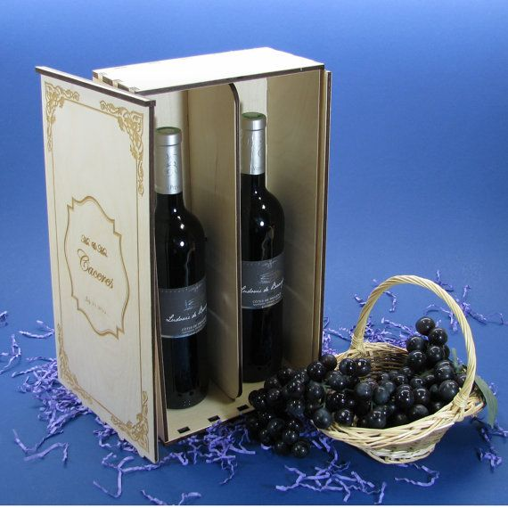 Wood Wine Box For 2 Bottles Personalized By You Wood Wine Box Personalized Bottles Wine Gift Boxes
