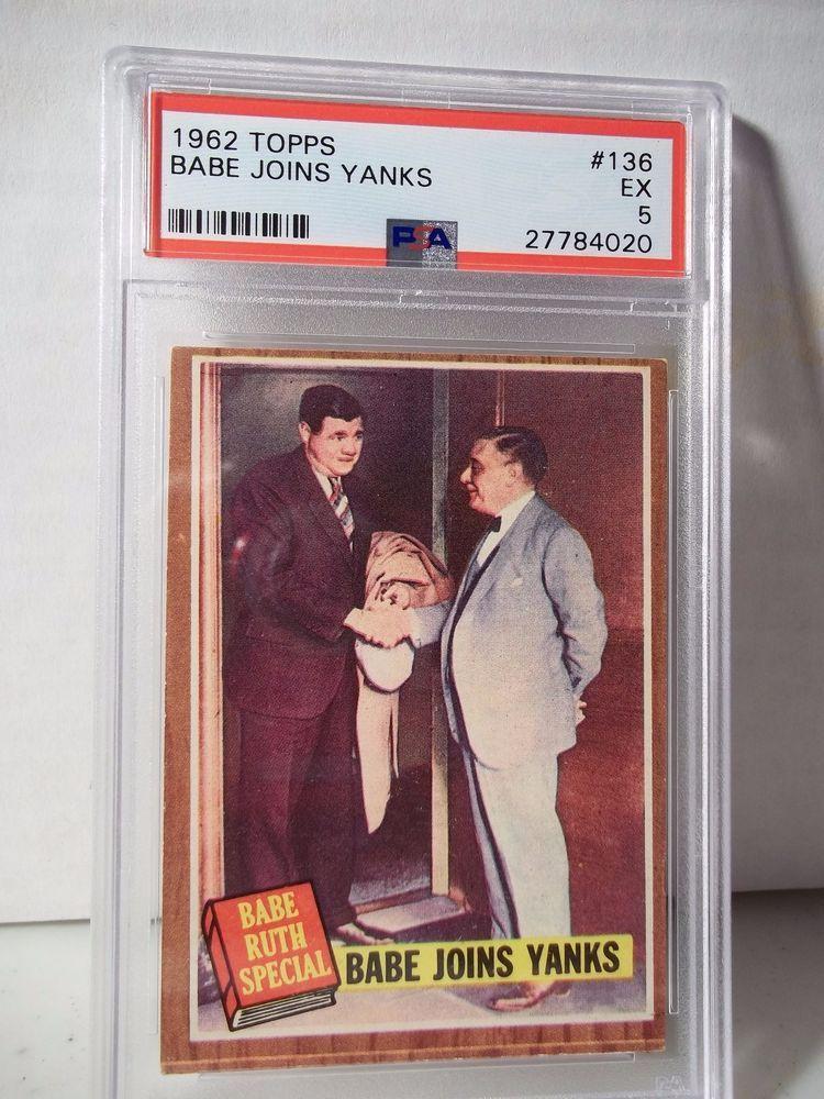1962 topps babe ruth psa ex 5 baseball card 136 mlb hof