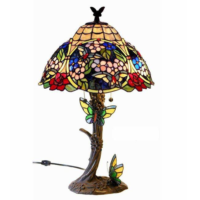 Tiffany Style Butterfly Table Lamp (Tiffany Style Butterfly Lamp), Purple  Lavender | Butterfly Table, Butterfly Lamp And Table Lamps