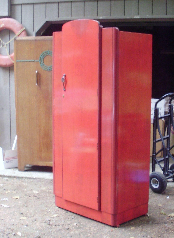 antique armoire reddish art deco wardrobe closet via etsy art deco mania. Black Bedroom Furniture Sets. Home Design Ideas