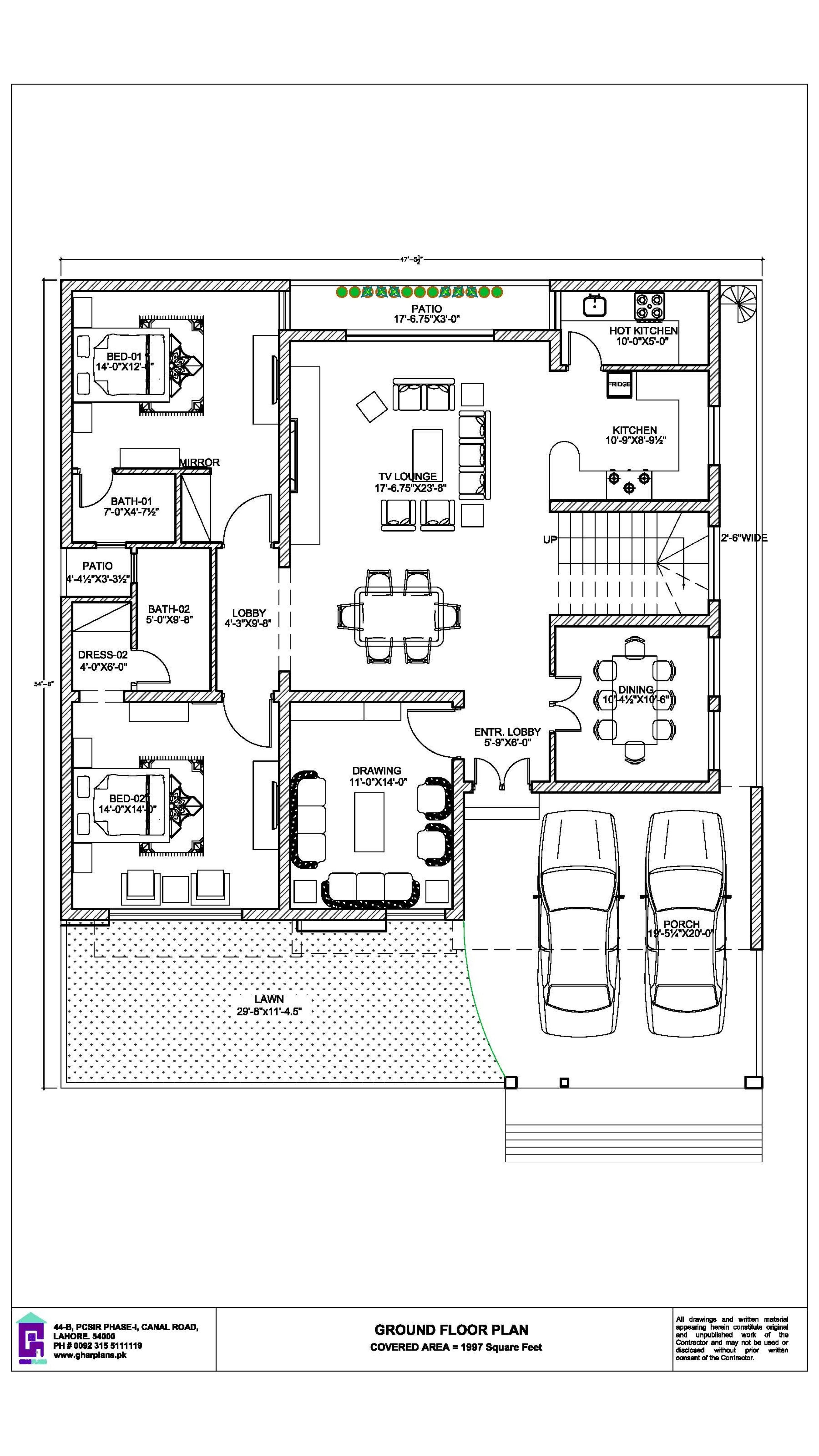 11 5 Marla House Ground Floor Plan Design 47 X54 House Floor Design House Plans Online Home Design Plans