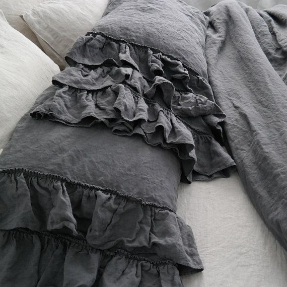 LINEN DUVET COVER Set. French Style Thick Ruffled
