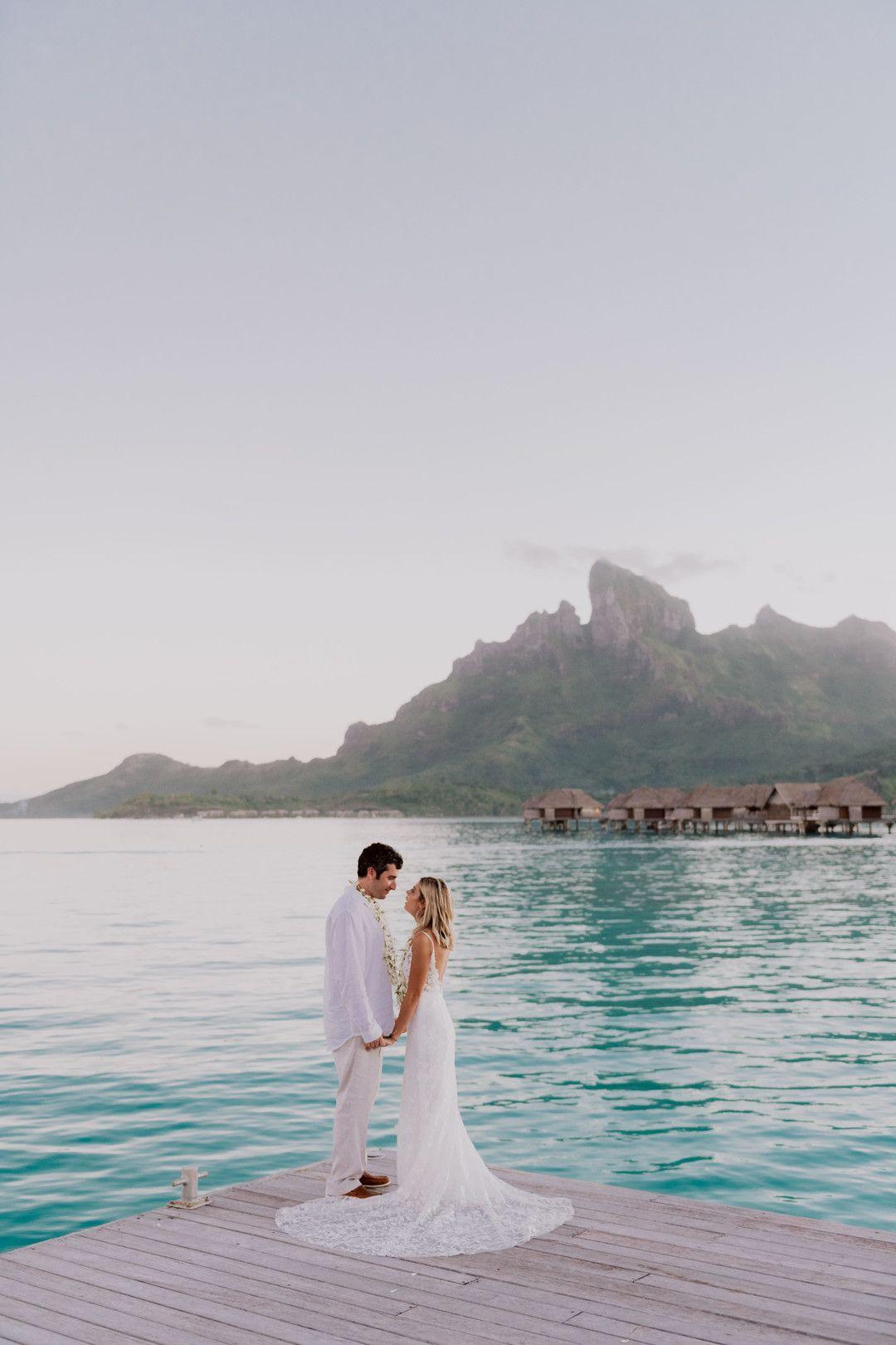 Elopement At The Four Seasons In Bora Bora Bora Bora Wedding Couple Destinations Caribbean Wedding