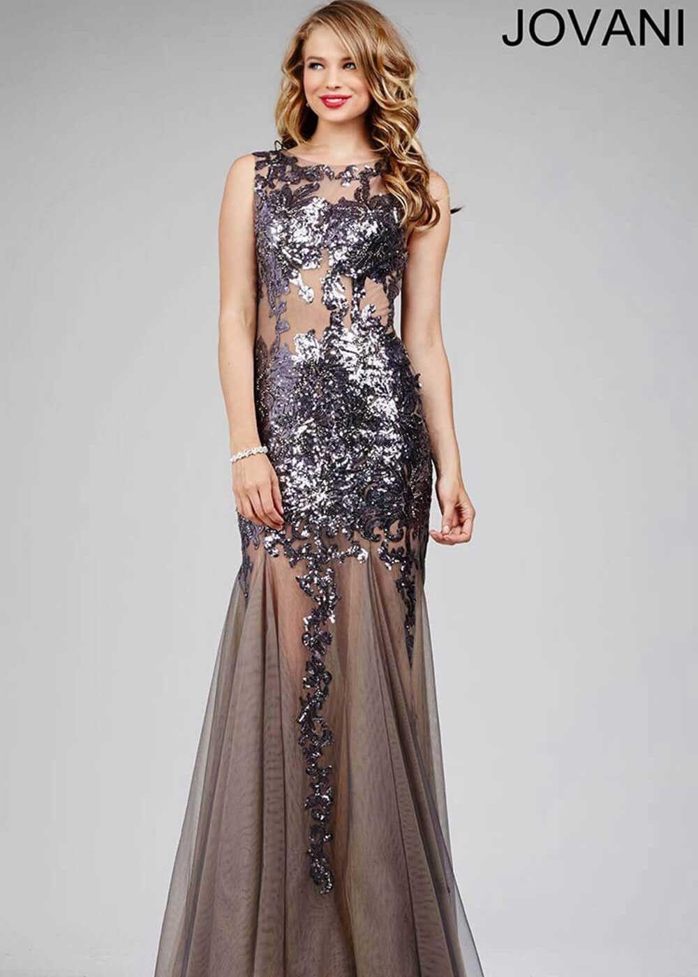 Jovani 24551 Sparkling Sequin Illusion Prom Dress