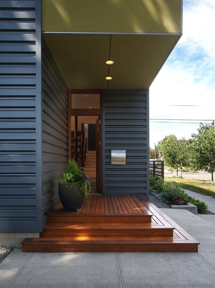 50 Concrete Front Porch Ideas Entrance Mid Century Modern Front Porches Modern Front Door House Front