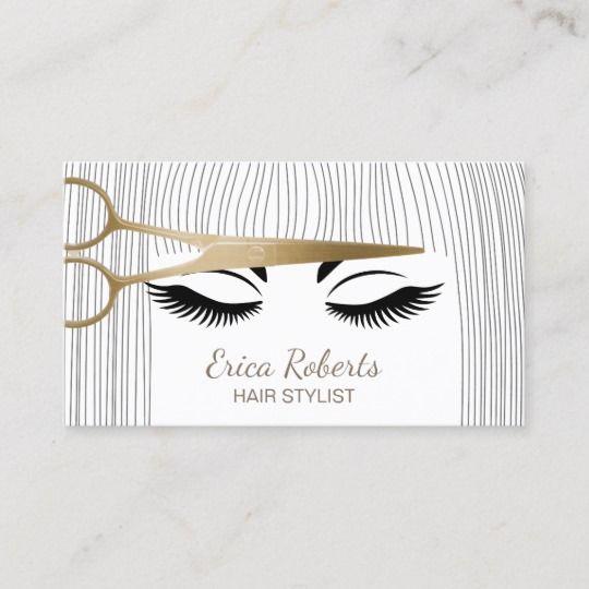 Hair Stylist Gold Scissor Girl Hair Salon Business Card Zazzle Com In 2021 Salon Business Cards Hair Salon Business Hairstylist Business Cards