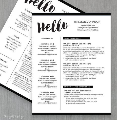 Resume Template for MS Word and Pages HELLO 1 \ 2 Page Resume - 2 page resume