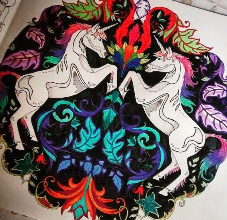 Unicorns Enchanted Forest Unicornios Floresta Encantada Johanna Basford BasfordColoring BookColouringColoringBooksTips