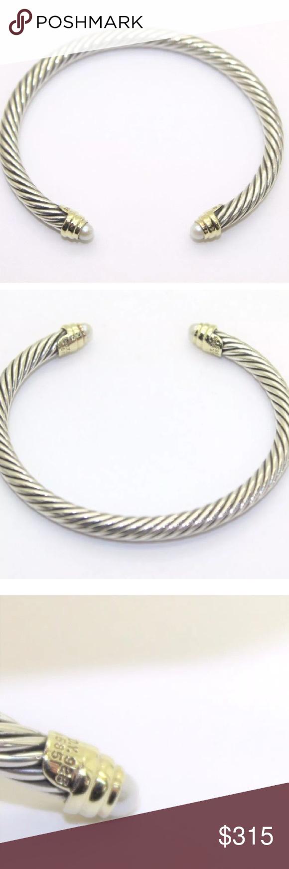 David Yurman 5mm Silver 14k Gold Pearl Bracelet Pearl Bracelet