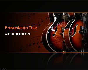 blues music powerpoint template ppt template | music - instruments, Presentation templates