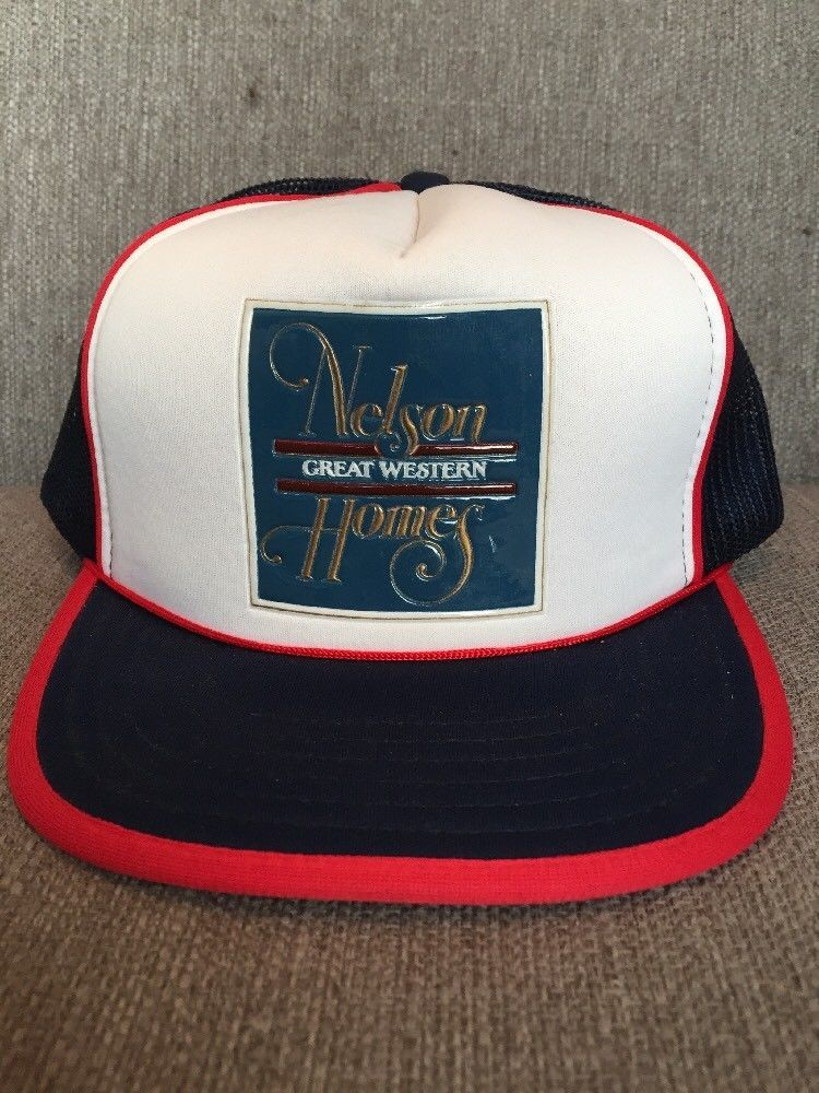 831f7a368ebea Vtg Nelson Great Western Homes Trucker Hat Mesh Snap Back 80 s Building  Blue Red