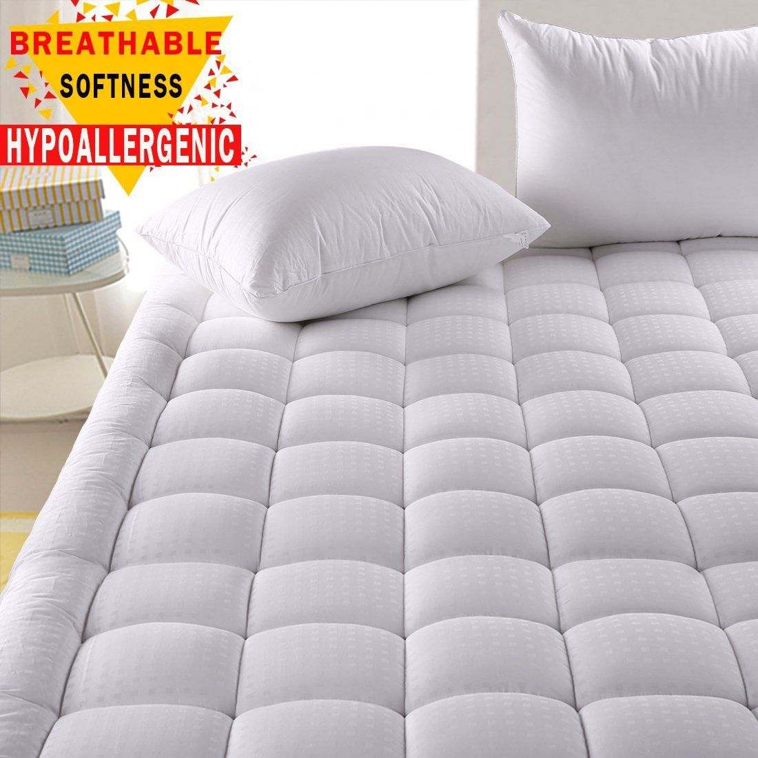 hypoallergenic quilted mattress pad cover with 300tc 100 cotton