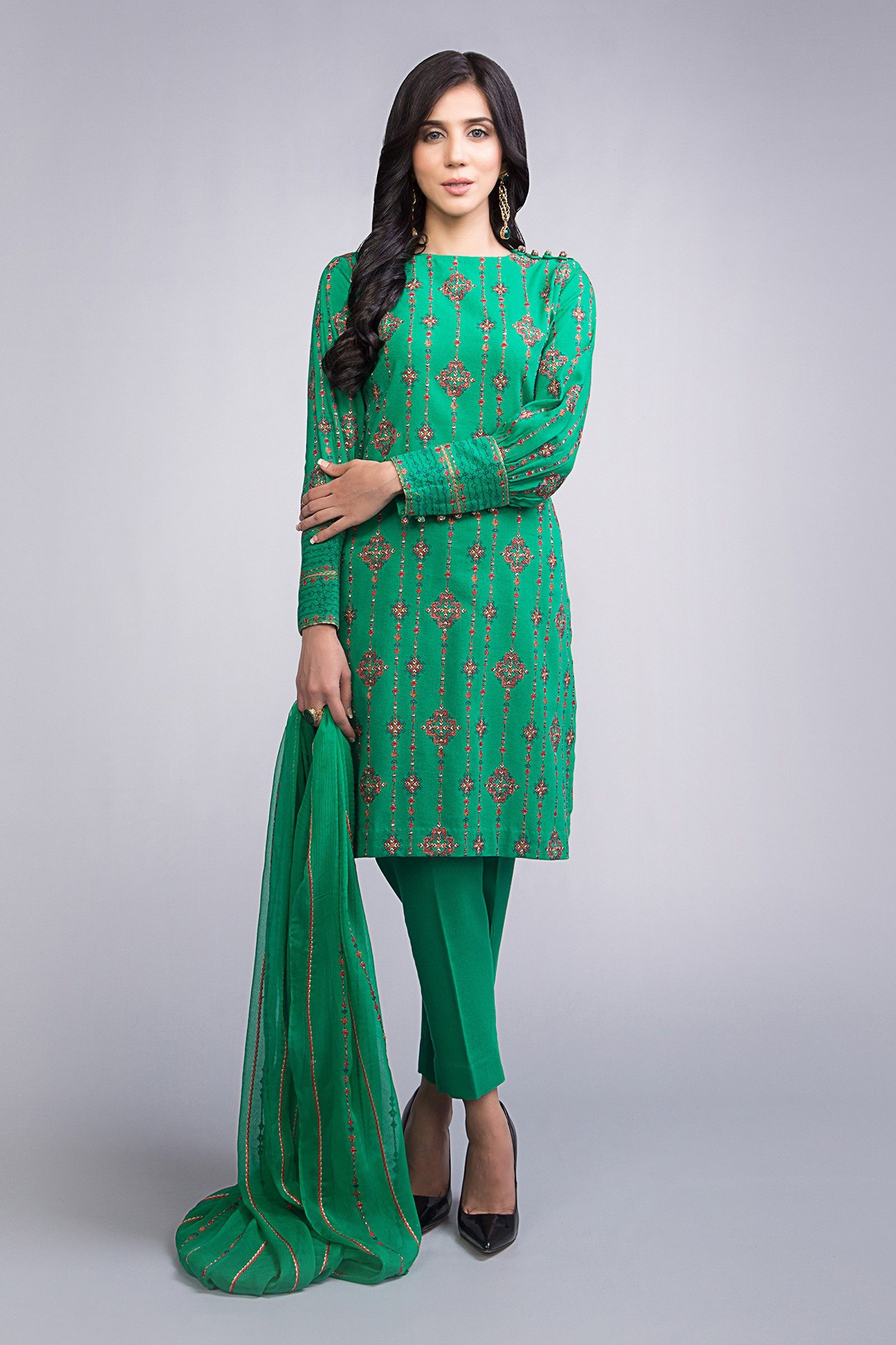 154fd1c0a181 Beautiful embroidered green stitched dress by Bareeze casual collection  2019 springcollection  spring  readytowear  pretwear  unstitched  online   linen ...