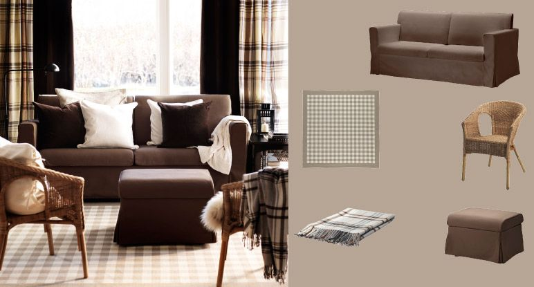 SANDBY Three Seat Sofa And Footstool With Blekinge Brown Cover And MILLINGE  Beige Rug