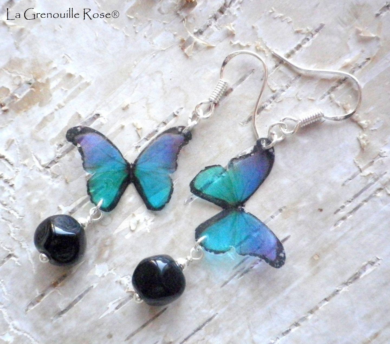 Boucles doreilles petits Papillons délicats bleu vert mauve