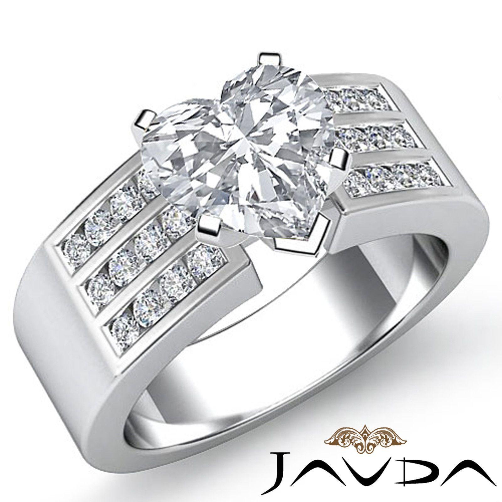 Real Heart Diamond Channel Set Shining Engagement Ring EGL E VS2 Platinum 1 31ct | eBay