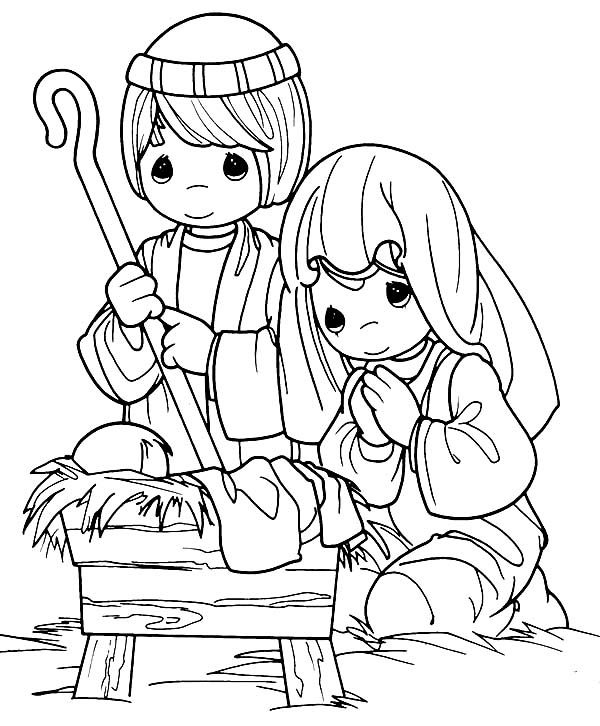 Cartoon of Nativity of Baby Jesus Coloring Page: Cartoon of ...
