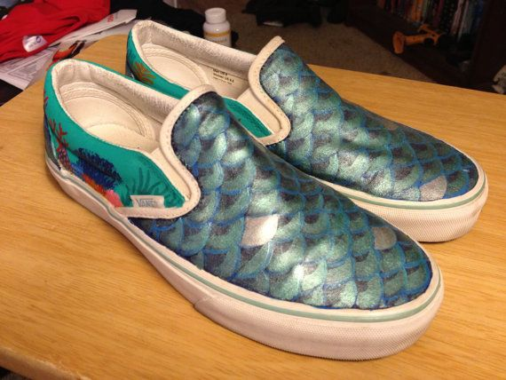 Custom painted mermaid shoes - Vans  77cf3b258