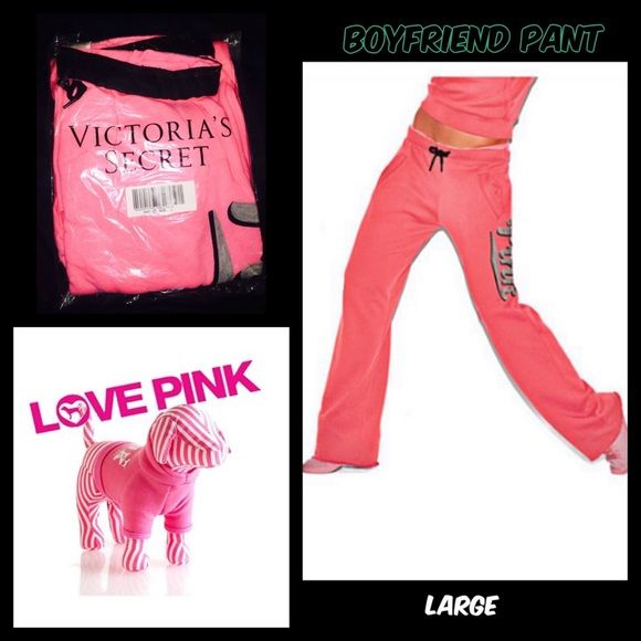 NWT VS PINK- large pink boyfriend pant NWT VS PINK- large pink boyfriend pant. New in package!!! PINK Victoria's Secret Pants Track Pants & Joggers