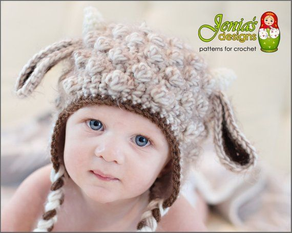 956c07dbb CROCHET PATTERN - Crochet Goat Animal Hat Pattern for Baby, Infant ...