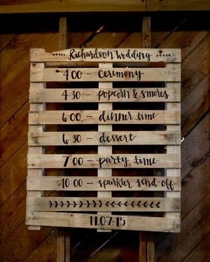 Fun idea for your wedding timeline! Hand-lettered on a ...