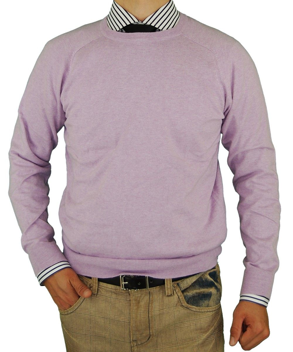Luciano Natazzi Crew Neck Cotton Sweater Cashmere Touch Slim Fit ...