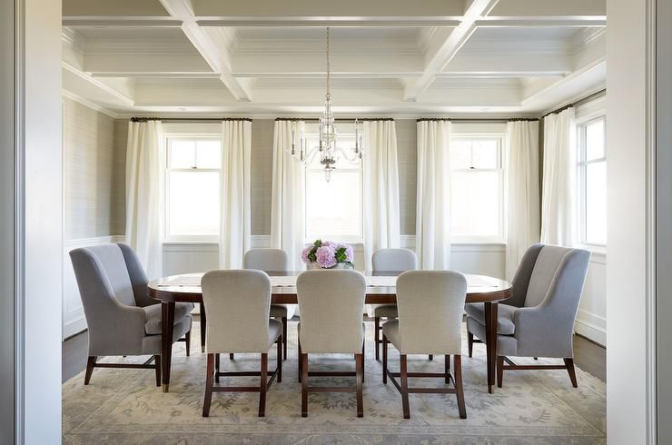 A Stunning White Coffered Ceiling Highlights The Beauty Of This Beauteous Dining Room Head Chairs Design Decoration