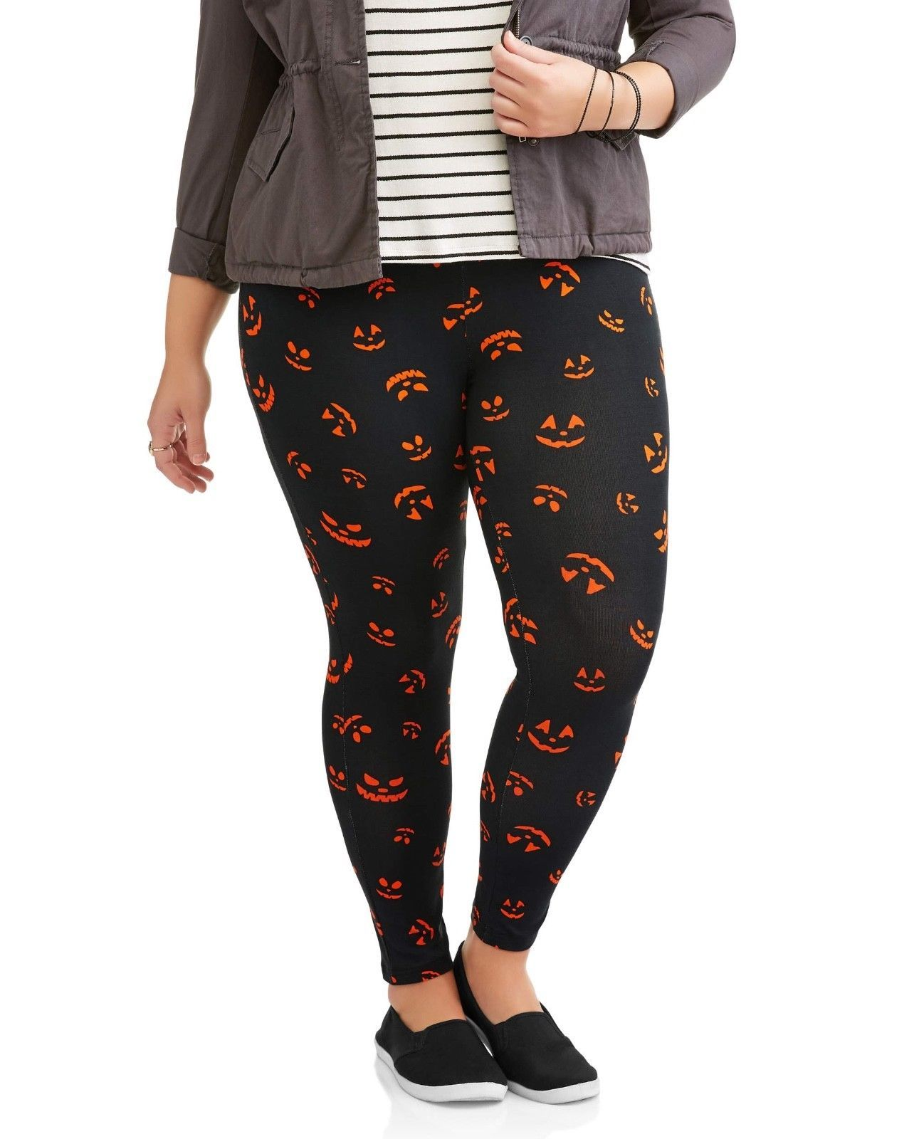 53e11abe9f81af Womens Plus Size 3X Leggings Halloween Pants Orange Pumpkin Faces Faded  Glory
