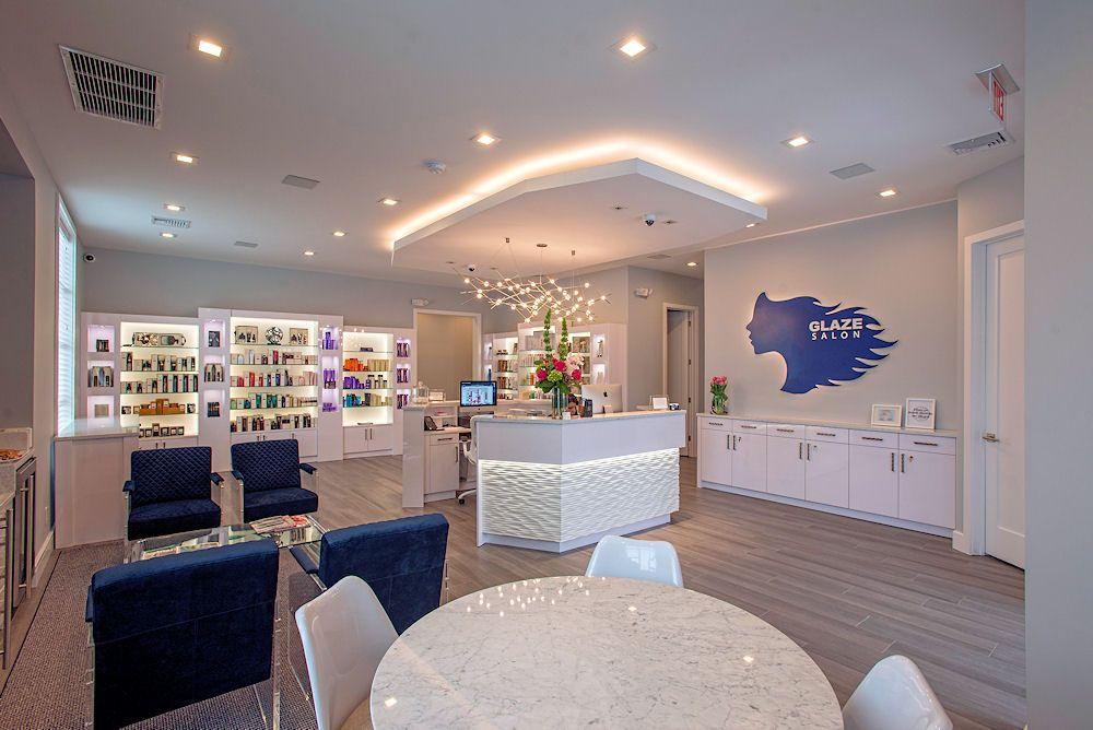 Glaze Salon Reception Area With Images Salon Interior Salon Design Salon Reception Area